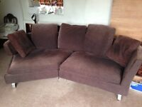 Dwell brown corner sofa with cushions lounge or conservatory