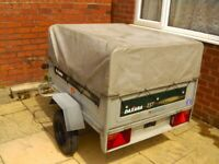 Daxara 137 tipping trailer with upper extension frame and 2 covers
