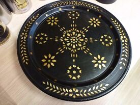 Indian inlaid wood display plate or bowl, ornament, very attractive.