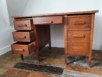 Rustic, 'old school' vintage, solid timber desk with 6 drawers