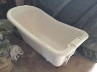 Roll top bath with double taps and shower head, excellent condition