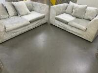 Grey 3+2 crushed velvet sofa set •free delivery