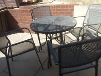 Aluminium Table and 4 Chairs