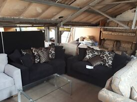 Black /gold cushions brand new 2/3 seater sofas