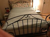 Cast iron & wood double bed frame