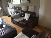 3 piece suite - leather Sofa's (two) Armchair & footstool.