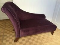 Chaise Longue. Hardly used, M&S Chaise Longue in Plum Velour. £300 ono. Buyer to collect.