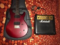 Paul Reed Smith Electric Guitar and soft shell case + Marshall Amp