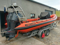 2004 Tornado 7.5M RIB with twin 150HP Yamaha outboards and Galvanised Indespension SRC10 Trailer.
