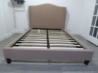 LUXURY BEIGE VELVET FABRIC DOUBLE BED FRAME
