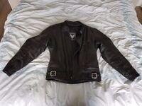 Black leather Frank Thomas motorcycle jacket - Size 42