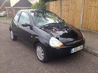 Ford KA luxury 1.3L 5 door Black/Cream leather interior. Great first car, low insurance, cd, air con