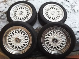 15 inch bbs alloy wheels with good tyres