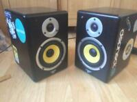 Citronic ST active monitors, stereo DJ studio