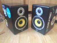 Citronic ST active monitors, stereo DJ studio