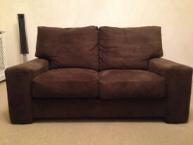John Lewis 2/3 Seater Sofa in Chocolate Brown Suede Leather JUST REDUCED