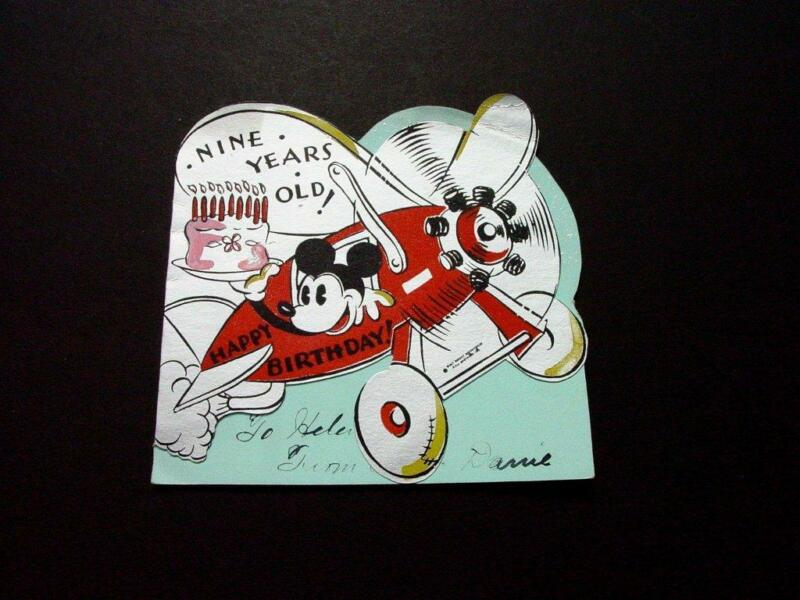 #H376 Walt Disney Hall Brothers Birthday Greeting Card Mickey Mouse Flying Plane