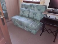 SOFA BED WITH MATCHING CUSHIONS IN EXCELLENT CONDITION
