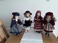 4 vintage style dolls