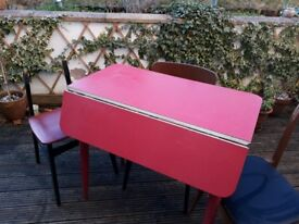 Vintage Retro Red Formica Drop Leaf Kitchen Dining Table 1950 1960 & 4 chairs