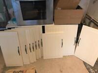 10 x Cream Farmhouse Style Kitchen Cabinet Doors - IKEA