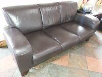 3 seater Brown Leather Seat for sale