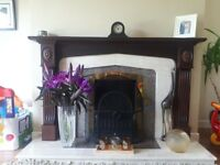 Mahogany fireplace with marble and granite hearth