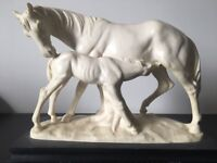 Rare A Santini Artist Signed White Horse Mare & Foal Sculpture Figure Italy Antique