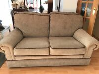 Couch and arm chair in taup beige brown come see with arm covers 5 years old