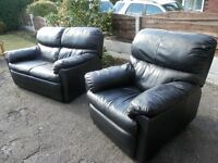 Black Leather Two Seater Sofa & Matching Recliner