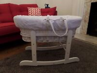 White Wicker Moses basket with rocking stand and linens