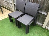 6 garden rattan chairs