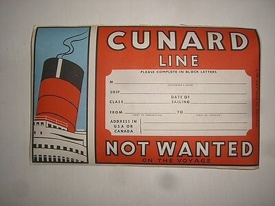 a/ old Ship Compay CUNARD LINE Schiff Kofferaufkleber baggage label sticker