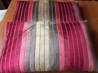 Multi Red Velvet Striped Feather cushions x 2