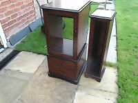 Hi Fi Unit in dark wood with a glass door and a drawer for cds also a free cd tower