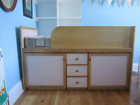Childrens Girls Single Cabin Captain Bed Wooden