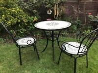 Mosaic and iron table and 2 chairs bistro / patio garden furniture set black white green