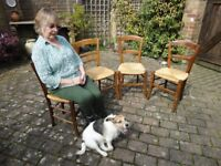 4 x small wooden occasional chairs, with woven raffia seating