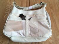 Cream Leather Patchwork Handbag