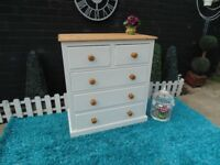 SOLID PINE FARMHOUSE LARGE CHEST OF DRAWERS WITH 3+2 DEEP DOVETAIL DRAWERS