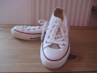 Size 3, Converse All Star trainers. White As new Worn 1x.