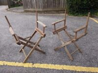 2 old wooden directors chairs
