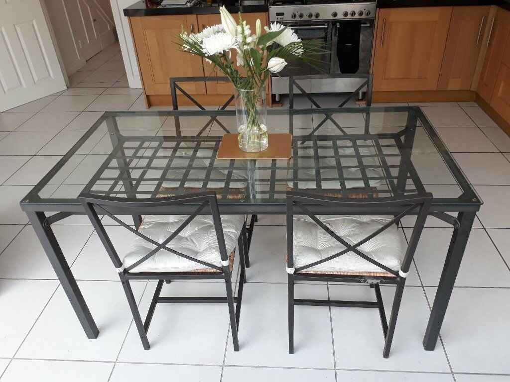 Ikea Granas Table And Chairs Glass Top Black Metal Frame
