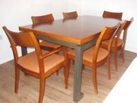 Solid wood dining table 180cm x 100cm with 6 chairs (2 carvers + 4 normal).