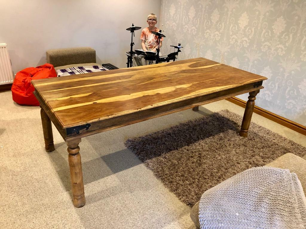 Large pine 8 seater dining table and chairs