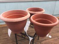 3 x Extra Large Plastic Outdoor Planter Pots, garden, patio, terrace, allotment