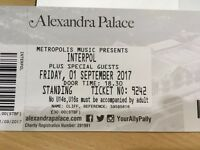 2 Interpol tickets for sale, Alexandra Palace, Friday 1st September, standing