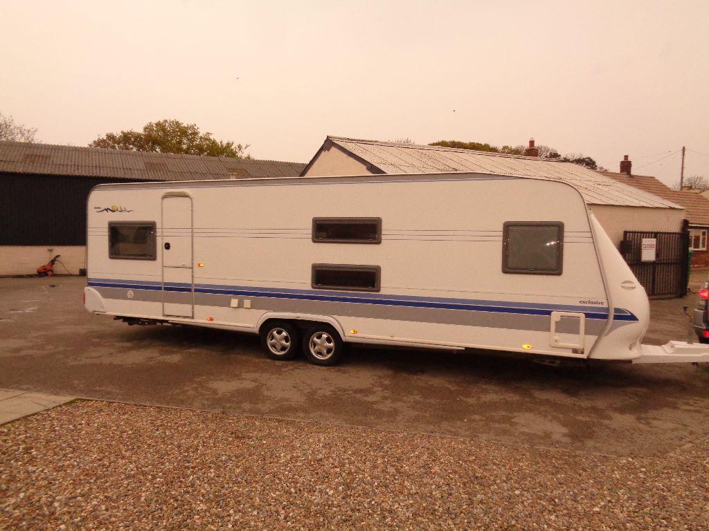 hobby 720 ukfe 2003 caravan with full awning in. Black Bedroom Furniture Sets. Home Design Ideas