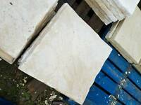 Buff 450x450x38mm Riven concrete paving slabs