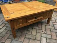 Solid Pine 'Corona' Coffee Table with Drawer